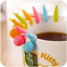 YSTD® 10pcs Cute Snail Shape Silicone Tea Bag Holder Cup Mug Candy Colors Gift Set New
