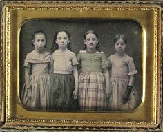 Daguerreotype - Four Girls- Fully tinted girl was probably for her birthday  1850s