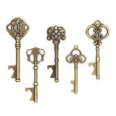 50 Assorted Key Bottle Openers - Antique Gold