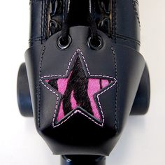 I want these!!! Leather Skate Toe Guards with Pink Zebra Print Star by derbyvixen, $35.00
