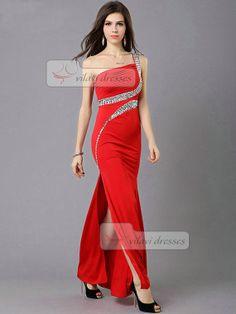 Over Hips One Shoulder Prom Dress Floor-length Rhinestones Chiffon Prom  Dresses Slit Skirt fbcdd03878