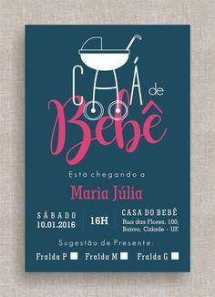 Convite Digital Chá de Fraldas 20 Chá de Bebê, tema moderno, diferente, simples, elegante, colorido. Baby shower invite, modern theme, neon.