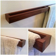 Badezimmer Handtuchhalter Modern walnut towel rack This unique towel rack is a must for your bathroom. -Measures: 34 x 2 x / 4 -mounting, screws and dowels included -Installed: Keys hold fasteners If you would be interested in a different size or wood Modern Towel Bars, Towel Rack Bathroom, Bathroom Storage, Kitchen Towel Rack, Bath Towel Racks, Towel Storage, Storage Rack, Bathroom Organization, Home Projects