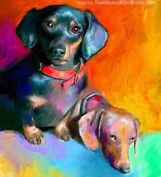 Dachshund dogs by Svetlana Novikova Contemporary Fine Art Basset Dachshund, Arte Dachshund, Dachshund Love, Daschund, Dachshunds, Doggies, Impressionist Paintings, Animal Paintings, Dog Art