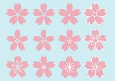 Floral Print Wallpaper, Floral Prints, Kawaii Drawings, Easy Drawings, Cherry Blossom Petals, Illustration Blume, China Art, Japanese Embroidery, Flower Template