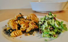 Baked Pumpkin Pasta and Brussel Sprout Salad
