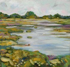 Cape May Marsh Landscape 10 x 10 original oil on by RubinettiArt