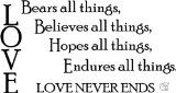 LOVE BEARS ALL THINGS BELIEVES ALL THINGS HOPES ALL THINGS ENDURES ALL THINGS LOVE NEVER ENDS Quote Wall Decal Sticker Vinyl Scripture | Buy Wall Decals