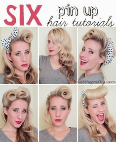 Want to get a retro look? We show the best 5 pin up hairstyles for girls with identity, will not go unnoticed! These Pin up hairstyles are very easy and fast to make, are based in pigtails, curls, to complement and a… Continue Reading → Evening Hairstyles, Retro Hairstyles, Wedding Hairstyles, Homecoming Hairstyles, Party Hairstyles, Pin Up Hair, My Hair, Cabello Pin Up, Pelo Retro