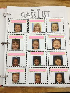 awesome idea - a class list with each students picture. Perfect for teacher binder and sub binder. I will do this when we get our student pictures back. We always get about 5 pictures of each student. Classroom Organisation, Teacher Organization, Teacher Hacks, Kindergarten Classroom, School Classroom, School Teacher, Classroom Management, Future Classroom, Classroom Ideas