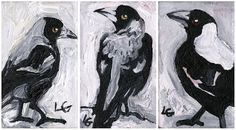 Items similar to Feral State 'Magpie Trio' Giclee Print on Etsy Magpie, Art For Sale, Giclee Print, Batman, Superhero, Unique Jewelry, Handmade Gifts, Anime, Fictional Characters