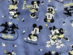cm013 - 1 Yard Cotton Fabric - Disney Cartoon Character,Mickey and Minne are Dancing - Gray. $9.00, via Etsy.