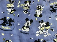 cm013 - 1 Yard Cotton Fabric - Disney Cartoon Character,Mickey and Minne are Dancing - Gray. $9.00, via Etsy.