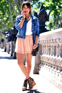 Cute  easy outfit perfect for summer, using two staples, a denim jacket and a white tee.