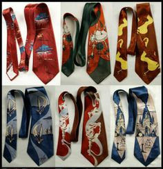 Ties were at their most extravagant during the 1940's...these particular ties were created using designs by Salvador Dali....