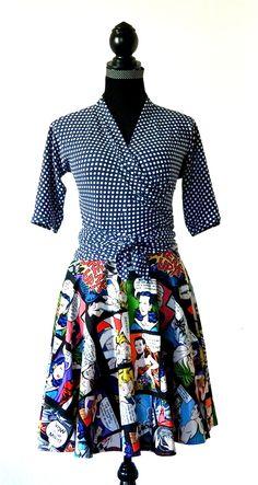 Pavlova wrap top + circle skirt pattern, ($), up to 127 cm full bust/ hip
