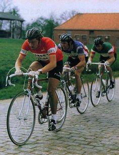 Parigi-Roubaix 1976, 11 aprile. Freddy Maertens (1952), Roger De Vlaeminck (1947) e Francesco Moser (1951)