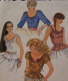 Peasant Top Sewing Pattern/ Fitted Blouse & Camisole/ McCall's 8006/ Misses Size 12/scoop drawstring neckline Over Shirt hippie retro/ Uncut by RedWickerBasket on Etsy