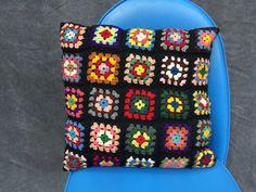 Vintage Granny Square Crochet Pillow by ElkHugsVintage on Etsy