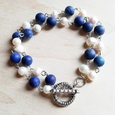 Frosted Blue Lapis and Freshwater Pearl Bracelet 240k