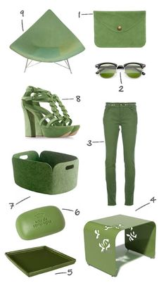 1. Suede envelope clutch ($28) at American Apparel  2. Malcolm classic half-frame sunglasses ($12) at OC Shades  3. Givenchy trousers ($828) at FarFetch.com  4. Botanist Flight side table ($890) at 2Modern  5. Colorful wooden tray ($50) at Wisteria  6. Sisley Eau de Campagne soap (£20) at John Lewis  7. Restore basket ($99) at DWR  8. Casadei sandals ($950) at The Corner  9. George Nelson Coconut chair ($3600) at 1stDibs