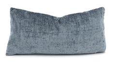 Blue Gray Chenille Lumbar Throw Pillow Cover by ThePillowSpot