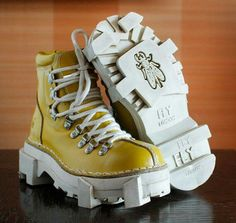 FLY London absolutely unique Yellow/White Club Kid Rave Techno platform shoes super rare model size: 37 EUR, US Women, 4 UK WOMEN high quality very thick yellow leather natural rubber sole condition: excellent durability guarantee! Aesthetic Shoes, Aesthetic Clothes, Yellow Leather, Black Leather Boots, 90s Shoes, Shoe Boots, Heeled Boots, Club Kids, Androgynous Fashion