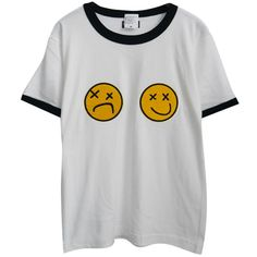 Chicnova Fashion Chic Emoji Print T-shirt ($20) ❤ liked on Polyvore featuring tops, t-shirts, shirts, t shirts, print top, cotton jersey t shirt, tee-shirt, t shirt and shirt tops