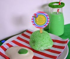 """Throw a Dr. Seuss Green Eggs and Ham(ish) party. Use a Hostess SnoBall to create the """"ham."""" #KidFriendly #Crafts"""