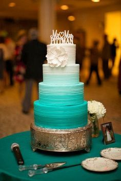 Ombre teal wedding cake