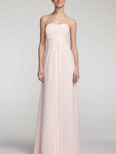 Long Strapless Chiffon Dress with Pleated Bodice I Style #F15555 @David's Bridal