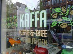 Kaffa Koffie Springsnow etalage Czaar Peterstraat Amsterdam