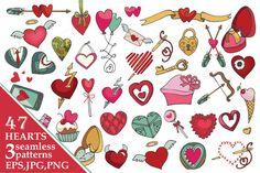 Valentine's day heartsdecor.Big pack by Tatiana Kost design on Creative Market