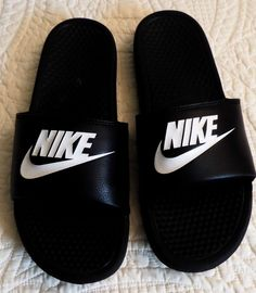 Nike Swoosh Nike Benassi Swoosh Slide Black Summer-Sandals Slip on Mens Size 10 #Nike #Slides