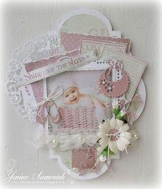 Vandaag wil ik jullie nog een babykaartje laten zien, gemaakt met het stansblok La Vie est Belle - Little Miracles. Deze keer een meisjeska...
