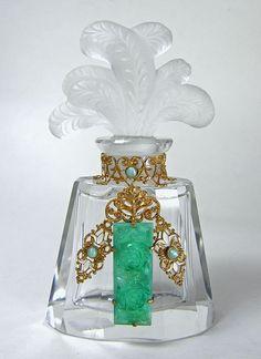 Czech Jeweled Figural Stopper Perfume Bottle Heinrich Hoffman