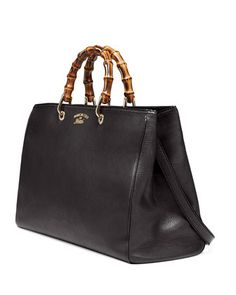 Gucci Bamboo Large Shopper Tote Bag, Nero