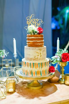 Looking for an alternative to a classic white wedding cake? We love this one-of-a-kind three-tiered wedding cake from Czerysh and Psalm's Real Wedding in Punta Cana!  Photo credit: Photography by Elvira