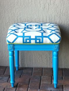 Bench with stenciled fabric seat. | stuff I did myself ...
