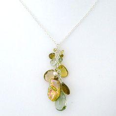 Keshi Pearl, Green Amethyst & Quartz Pendant