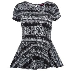 743999ede newlook · Inspire Monochrome Blurred Aztec Peplum Top Teen Guy Fashion, I  Love Fashion, Monochrome,