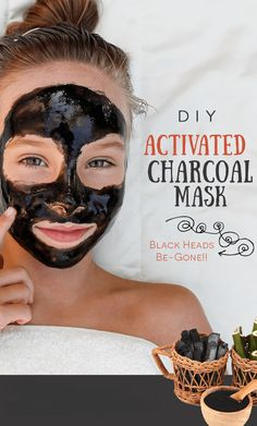 DIY activated charcoal mask to keep black heads away. #skincare #beautyhacks #beautytips #acnetreatment Activated Charcoal Face Mask, Charcoal Teeth, Charcoal Mask Benefits, Natural Hair Mask, Natural Face, Remove Acne, Peel Off Mask, Diy Face Mask, Face Masks