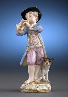 In this charming porcelain figure by Meissen, a boy plays a bugle while his faithful dog sits at his feet. Originally modeled in 1740 by the famed Johann Joachim Kändler for the Gardener's Children series, this young lad is executed with the greatest attention to detail. A similar figure is featured in Meissen: Collector's Catalogue by Laurence Mitchell.Features the Meissen crossed swords and incised model number 22.Circa 1870