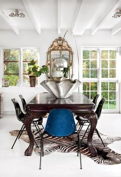Scandinavian Home Design dining room, general inspiration, love the mix of furniture styles, the windows, and the bauhaus lamp in place of a chandelier Modern Interior Design, Interior Design Inspiration, Interior Ideas, Modern Decor, Design Ideas, Decoracion Vintage Chic, Swedish Interiors, White Interiors, Swedish House