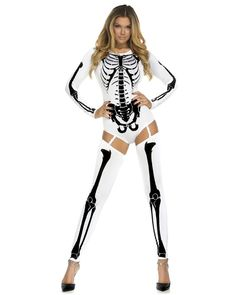182f708cf99 White   Black Long Sleeve Skeleton Bodysuit Costume with Thigh Highs