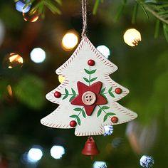 3 Alpine Style Heart Tree Christmas Decorations