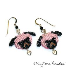 Pink PUG LOVE beaded sterling silver heart by thelonebeader, $95.00