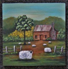 Original Primitive Folk Art Painting Sheep by PrimitiveFolkArtist