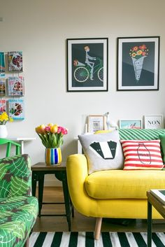 "Credit: Lee Garland Taylor may be self-taught and on a budget, but his home is a lesson in how to use colour and pattern. Retro and Scandinavian in feel, it features pops of primary colour amid geometric and striped monochrome prints, animal motifs and pastels. The effect is neither twee nor overly feminine. ""I use black as a foil, so the effect's a bit more sophisticated,"" Taylor says. In among the pastels in the living room are industrial black iron and mango wood shelves and ..."