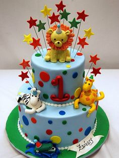 zoo party cake. Un pastel fantástico de animales.